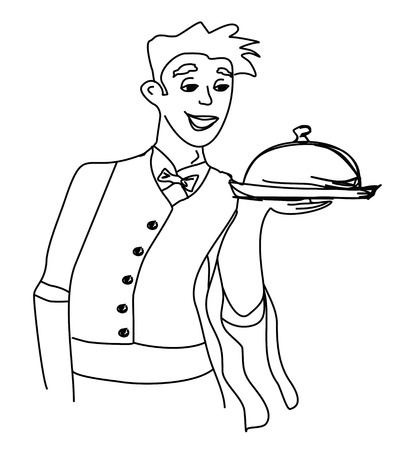 Cartoon Waiter - funny doodle illustration Vector