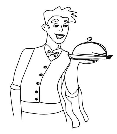 Cartoon Waiter - funny doodle illustration Vector