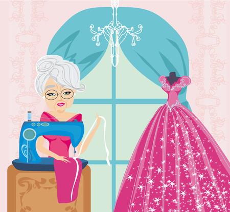 alte dame: alte Dame mit N�hmaschine