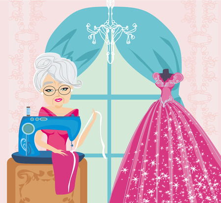 old lady with sewing machine  Vector