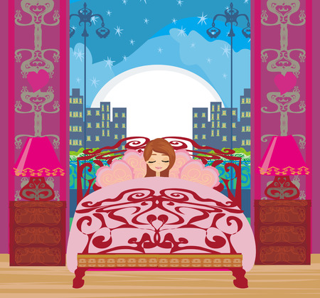 a beautiful girl sleeping in bedroom Vector