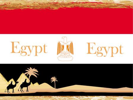 camel caravan in wild africa - flag of egypt,abstract grunge frame  Illustration