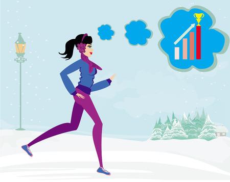 muffs: slim girl running in winter