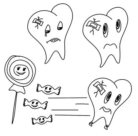 hadron: hand drawn funny teeth