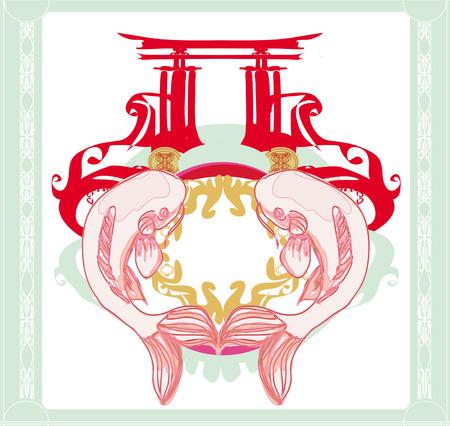 koy carp: japanese koi and ancient building - abstract frame