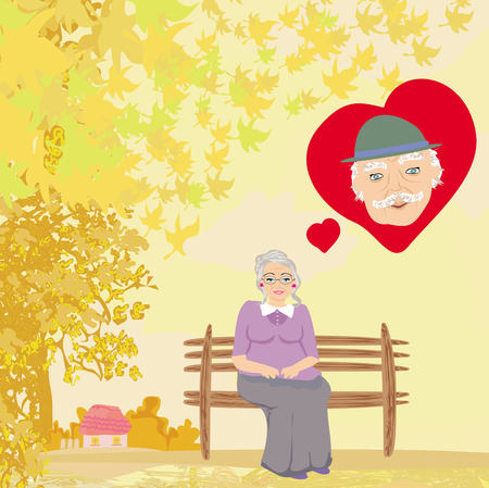 thinks: the old lady thinks about the man she loves Illustration