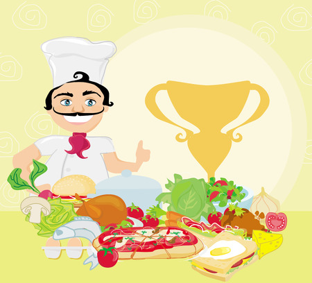 smiling chef and various dishes  Vector