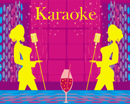 Karaoke night, abstract illustration with microphone and singer Vector