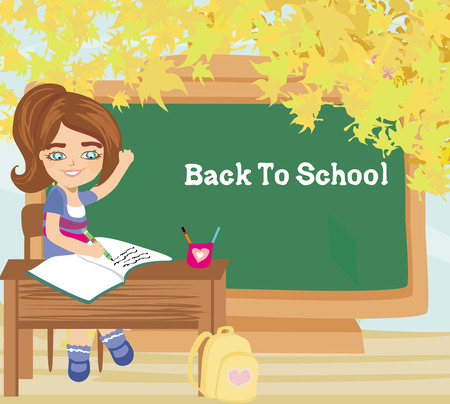 Pupil knows the answer and puts her hand up - back to school card Vector