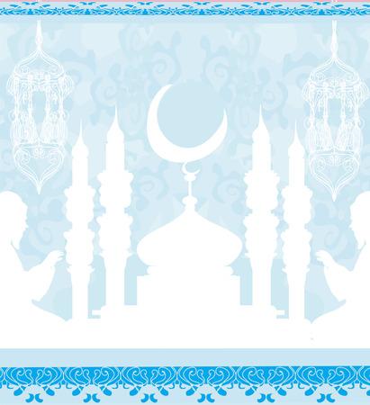 muslim pray: abstract religious background - Muslim men praying