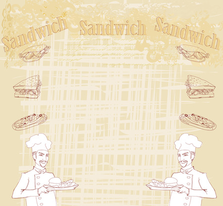 grunge background with sandwich and cook Vector