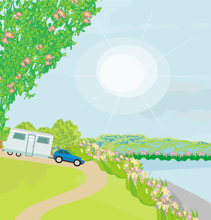 아침 햇살에 캠핑 사이트