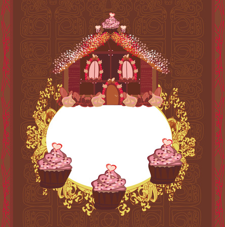 Gingerbread house , vintage frame Vector