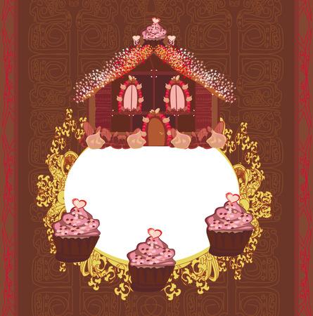 Gingerbread house , vintage frame Vector
