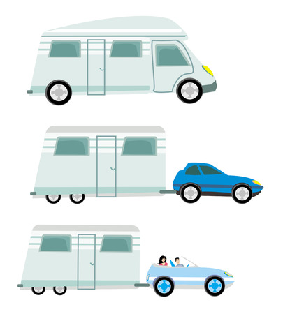 camper trailer: camper and trailer set,  isolated