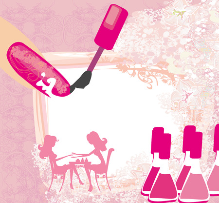 manicurista: manicura en un sal�n de belleza, tarjeta abstracta