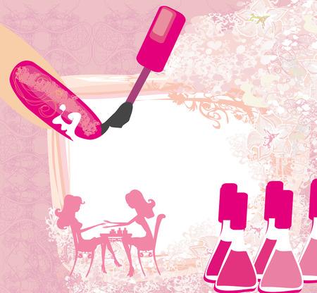 abstract illustration: manicure in un salone di bellezza, astratto carta Vettoriali