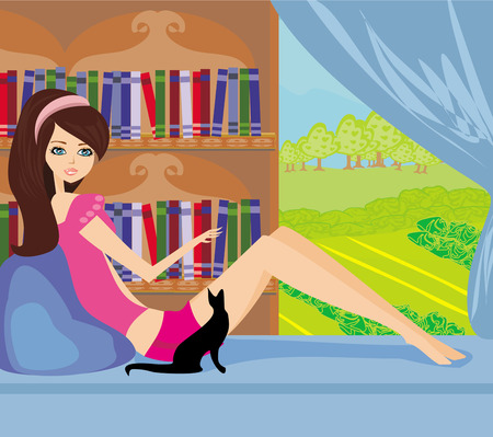 area sexy: Illustration of a Girl Reading a book  Illustration
