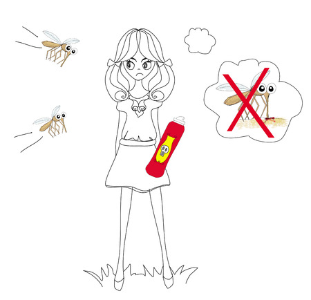 hunt for mosquitoes Illustration
