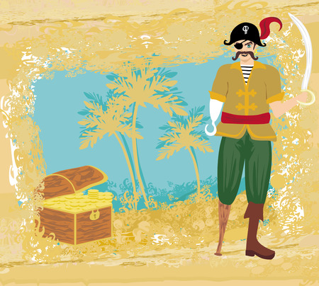 abstract grunge illustration with pirate and chest full of gold  Vector