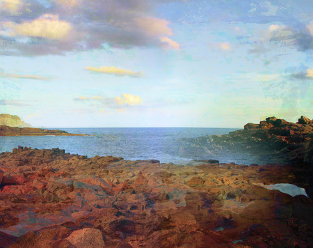 Panoramic view over Coast, grunge abstract landscape Stock Photo