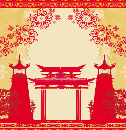 Abstract card with Asian buildings , vintage frame Vector