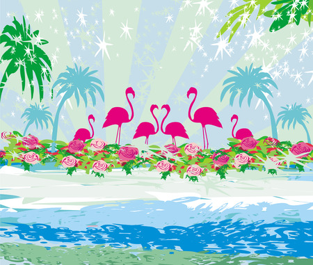 Abstract card with flamingos and nature Vector