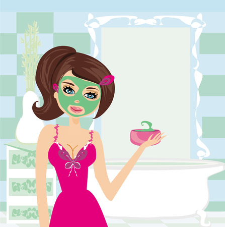 a young beautiful woman with mask on her face  Vector