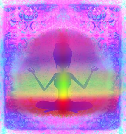 yogi aura:  Yoga lotus pose. Padmasana with colored chakra points.  Stock Photo