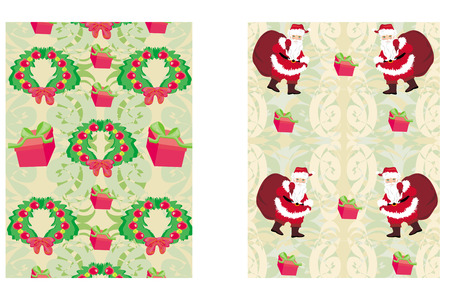 Christmas decorative elements and reindeer,santa and gifts seamless pattern background.  Vector