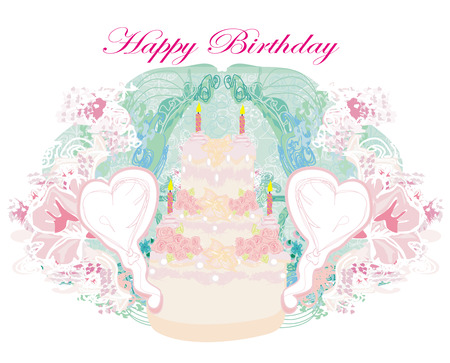 cliipart: Happy Birthday - abstract floral greeting card