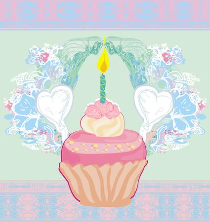 illustration of cute retro cupcakes card - Happy Birthday Card  Vector