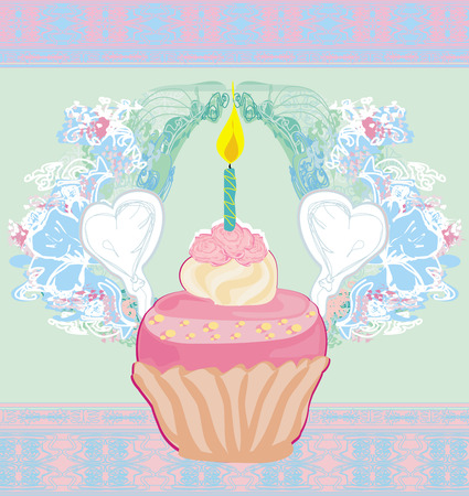 cliipart: illustration of cute retro cupcakes card - Happy Birthday Card