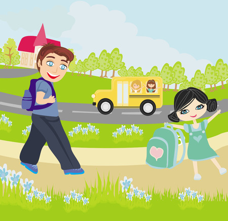 happy kids go to school  Vector