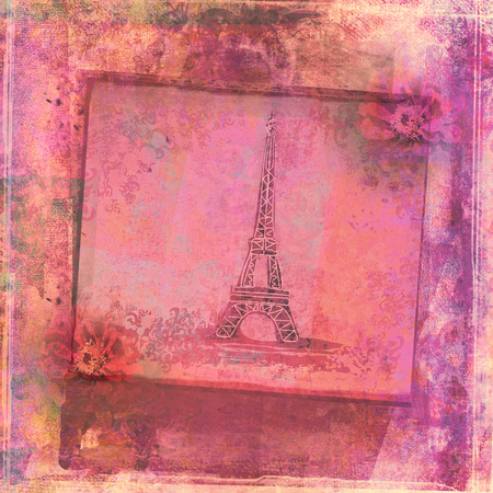 Eiffel tower - vintage abstract card  photo