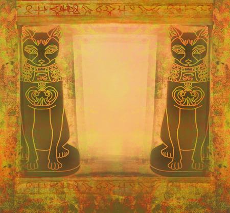 Stylized Egyptian cats -  grunge frame photo