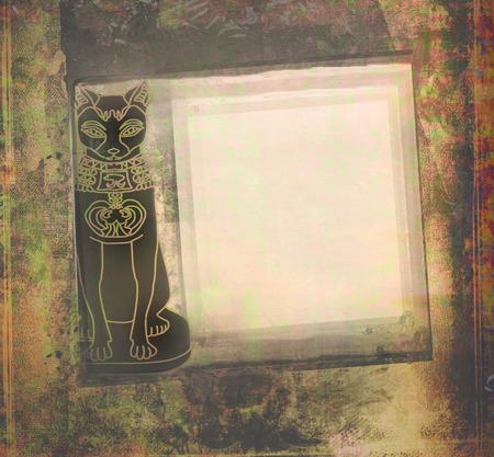 Stylized Egyptian cat , grunge frame photo