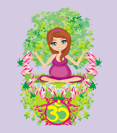 pregnant girl sits and meditates,abstract card  Vector