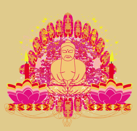 Lotus Oil Lamp with Buddha card Stock Vector - 28284199
