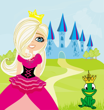 frog queen: Princess and the Frog in the crown Illustration