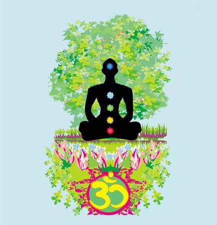 Yoga lotus pose. Padmasana with colored chakra points. Stock Vector - 28274216