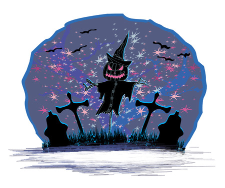 creepy scarecrow in a night scene  Vector