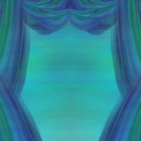 Theater Curtains, abstract blue and green background Stock Photo - 28461358
