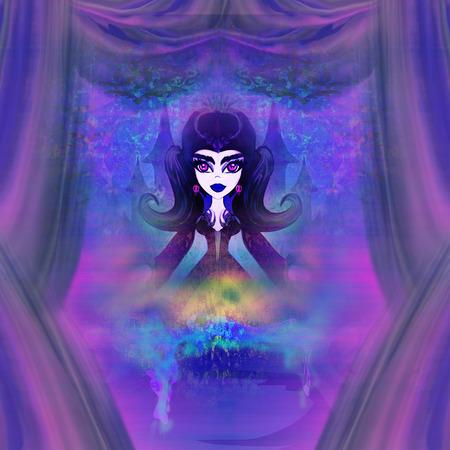 theatrics: beautiful witch illustration  Stock Photo