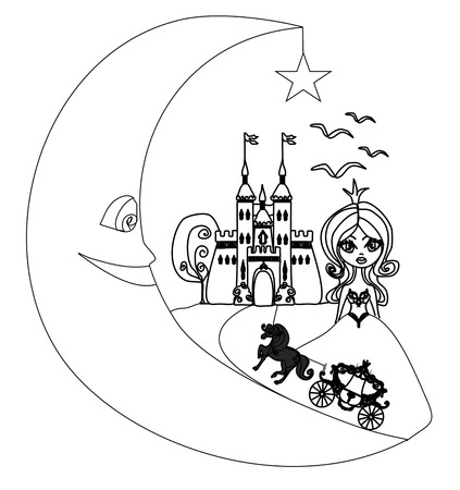 medieval castle,princess, carriage and the Moon - hand drawing illustration  Vector