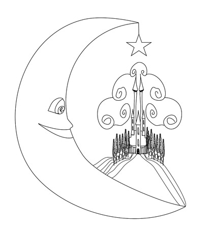 medieval castle and smiling moon - hand drawing illustration  Vector