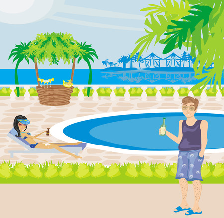 relaxing by the pool Vector