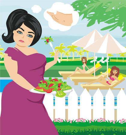 eats: fat girl eats a salad Illustration