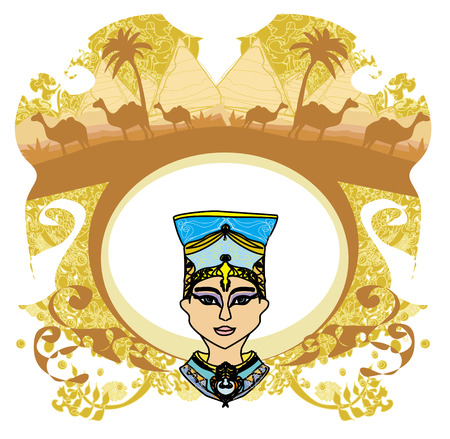 cleopatra: vintage frame with Egyptian queen