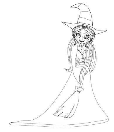 beautiful doodle little witch  Vector